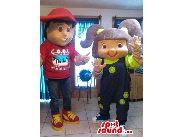 Boy With A Red Cap And A Girl With Purple Pony Tails Canadian SpotSound Mascots