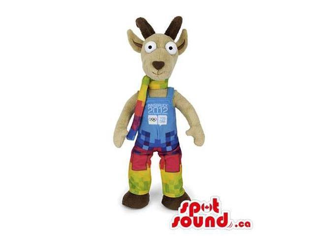 Customised Plush Beige Goat Canadian SpotSound Mascot With Colourful Gear