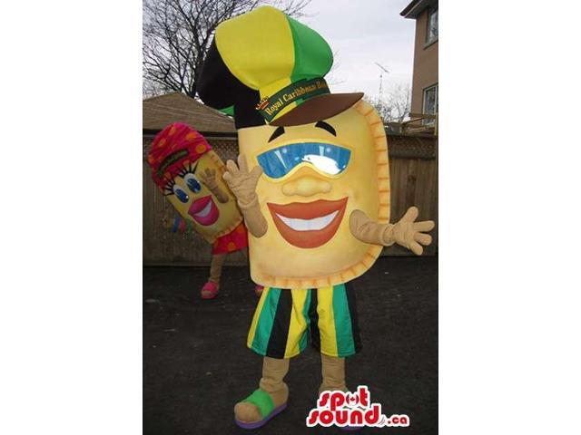Cool Jamaican Patty Snack Canadian SpotSound Mascot Dressed In A Large Hat And Sunglasses