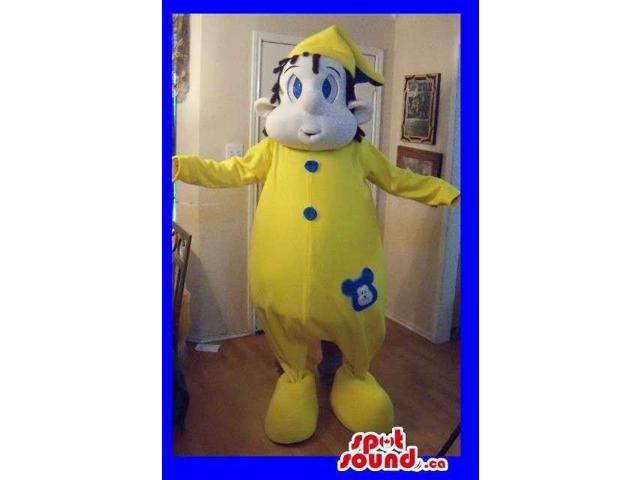Boy Character Canadian SpotSound Mascot Dressed In Yellow Pyjamas And Hat