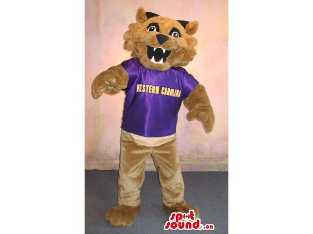 Brown Tiger Plush Canadian SpotSound Mascot Dressed In A Purple T-Shirt With Text