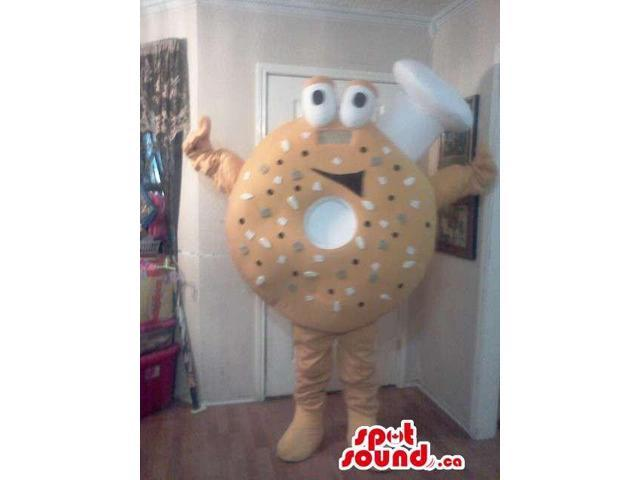 Bagel Or Doughnut Food Canadian SpotSound Mascot With Peculiar Face And Chef Hat