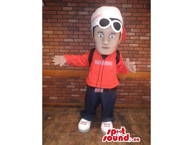 Human Boy Character Canadian SpotSound Mascot Dressed In A Hoodie, Cap And A Backpack