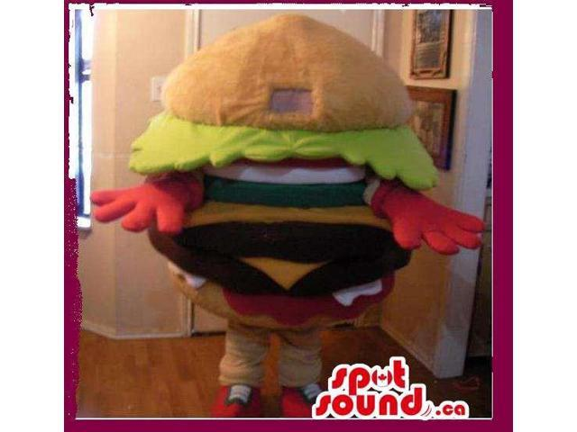 Customised Burger Canadian SpotSound Mascot With No Face And Many Ingredients