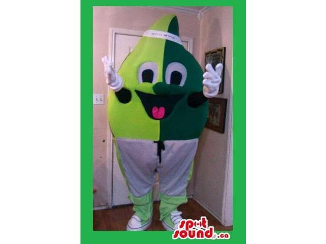 Peculiar Tone Green Leaf Canadian SpotSound Mascot With A Cute Face And Shorts