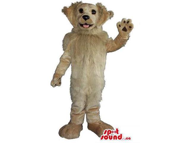 Customised Beige Dog Plush Canadian SpotSound Mascot With Large Woolly Ears