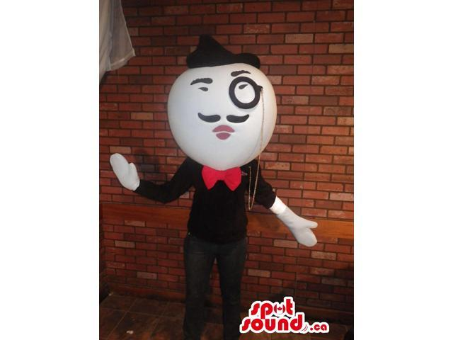 Character Canadian SpotSound Mascot With Round Large Head, A Monocle And A Moustache
