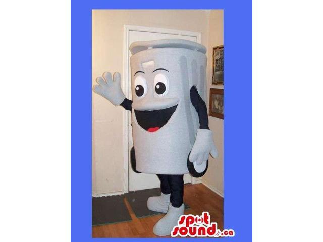 White Recycling Box Canadian SpotSound Mascot With Peculiar Face And Wheels