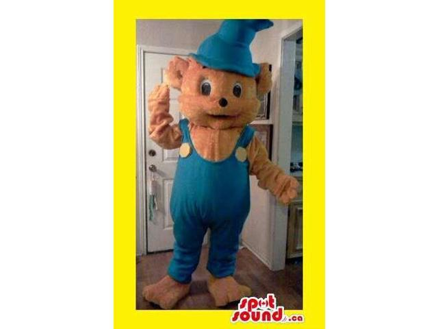 Cute Brown Bear Plush Canadian SpotSound Mascot Dressed In Blue Overalls And Long Hat