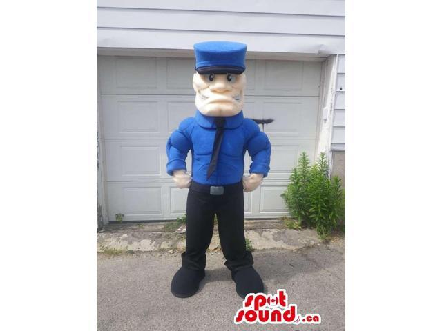 Human Character Canadian SpotSound Mascot With Muscles Dressed In An Agent Uniform