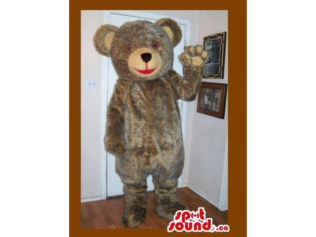 Customised Grey Teddy Bear Plush Canadian SpotSound Mascot With Beige Face