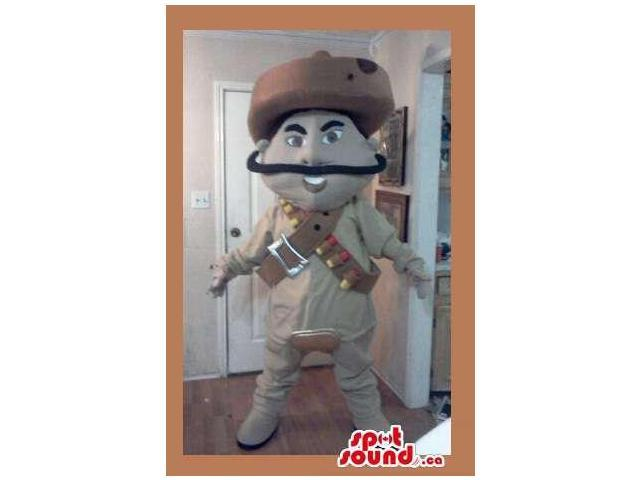 Cartoon Mexican Canadian SpotSound Mascot With Long Moustache And Large Hat