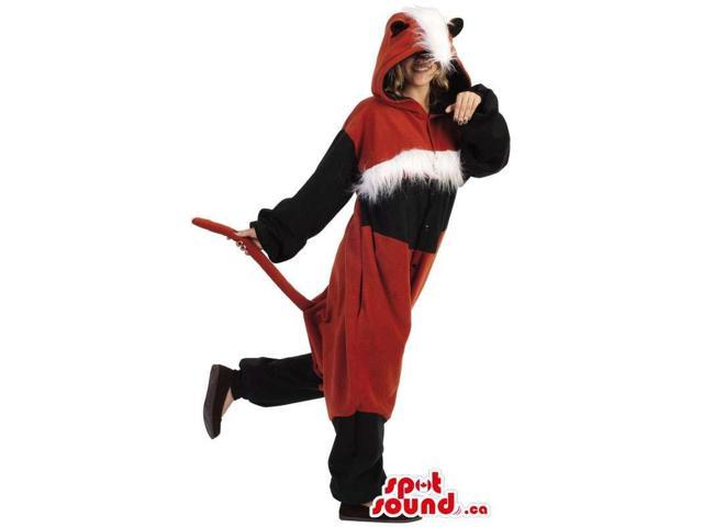 Fantastic Red And Black Fox Adult Costume With Woolly Head