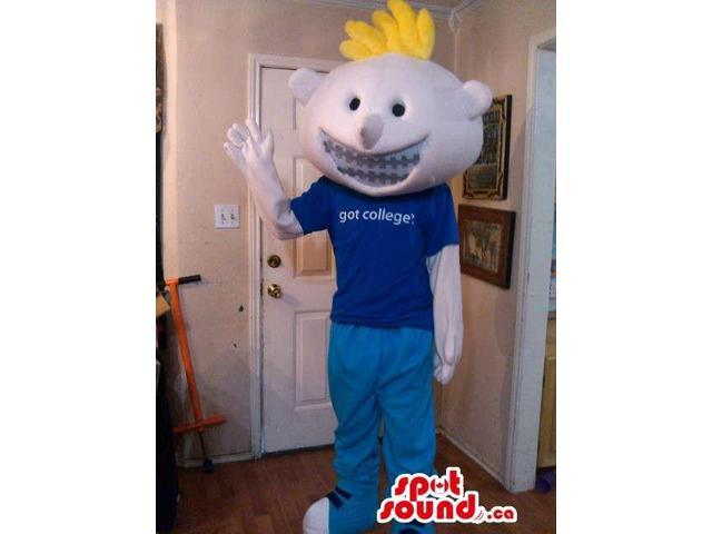 Blond Boy Plush Canadian SpotSound Mascot Dressed In Braces And T-Shirt With Text