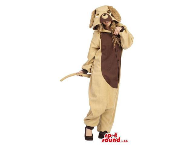Fantastic Beige Dog Adult Costume With A Brown Belly