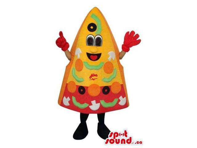 Fairy-Tale Peculiar Pizza Slice Food Plush Canadian SpotSound Mascot With Many Ingredients