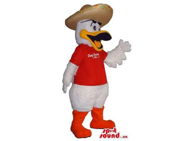 Duck Plush Canadian SpotSound Mascot Dressed In A T-Shirt With Logo And A Mexican Hat