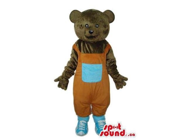 Brown Bear Plush Canadian SpotSound Mascot Dressed In Orange Overalls With A Pocket