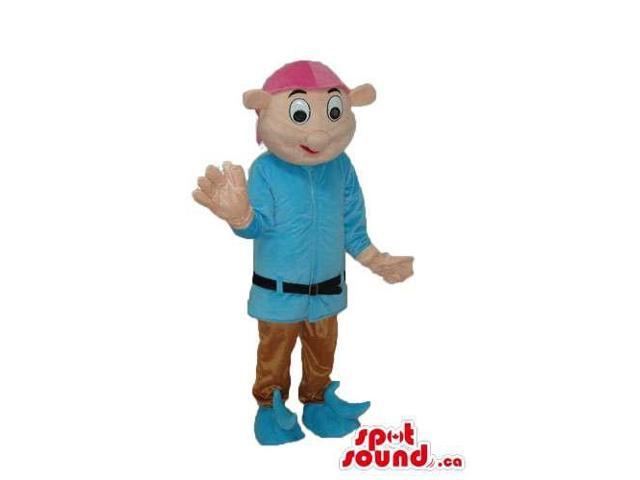 Boy Character Canadian SpotSound Mascot Dressed In Medieval Blue Clothes