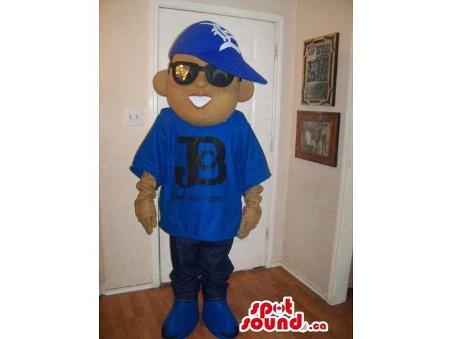 Boy Canadian SpotSound Mascot Dressed In Blue Street Wear Clothes And Sunglasses