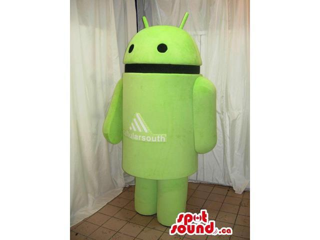 Green Android Technology Brand Name Canadian SpotSound Mascot With Logo
