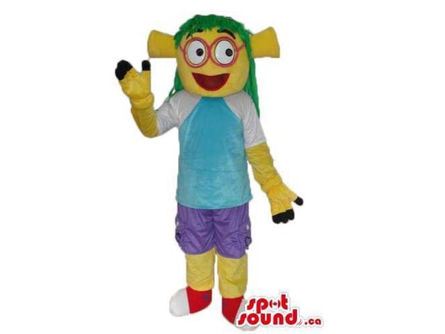 Yellow Alien Canadian SpotSound Mascot Dressed In Blue Street Wear Clothes And Glasses