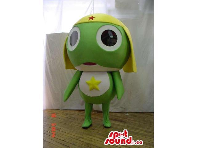Green And White Fairy-Tale Frog Canadian SpotSound Mascot With And Yellow Hat