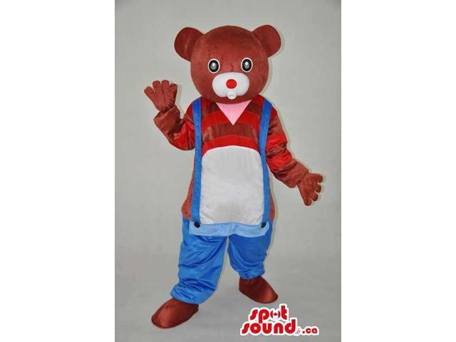 Brown Bear Plush Canadian SpotSound Mascot Dressed In Low Overalls And Striped Customised Top