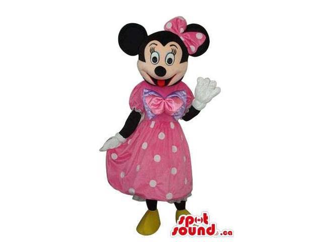 Minnie Mouse Disney Character Canadian SpotSound Mascot In A Pink Dot Dress