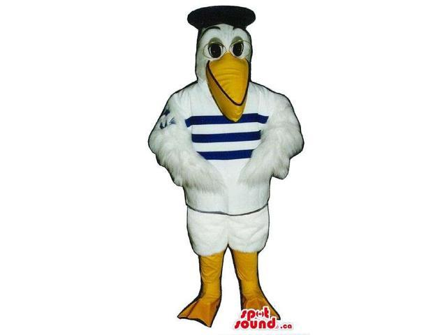 White Pelican Plush Canadian SpotSound Mascot Dressed In Sailor Clothes And Glasses
