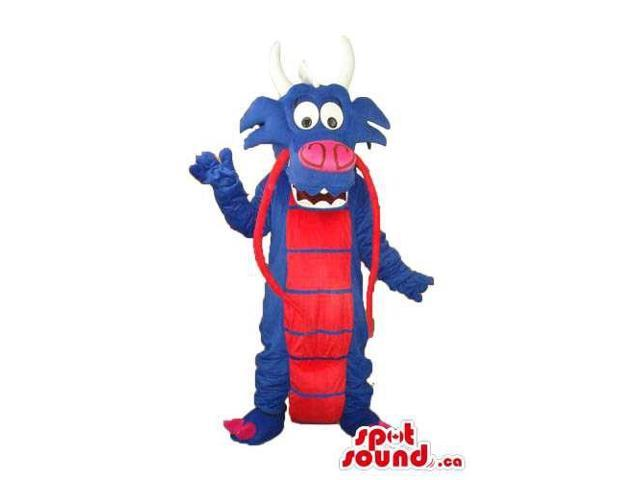 Exotic Blue Dragon Plush Canadian SpotSound Mascot With Red Belly And Horns