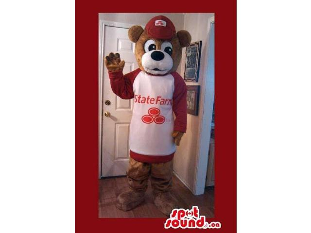 Brown Bear Plush Canadian SpotSound Mascot Dressed In Red And White Customised Top With Logo