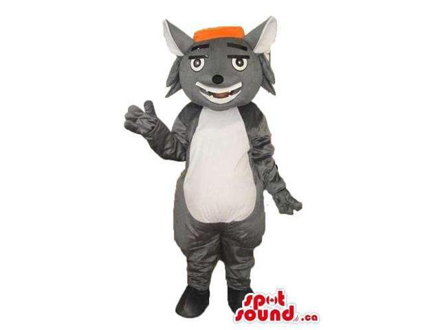 Cartoon Grey Cat Canadian SpotSound Mascot With White Belly Dressed In An Orange Cap