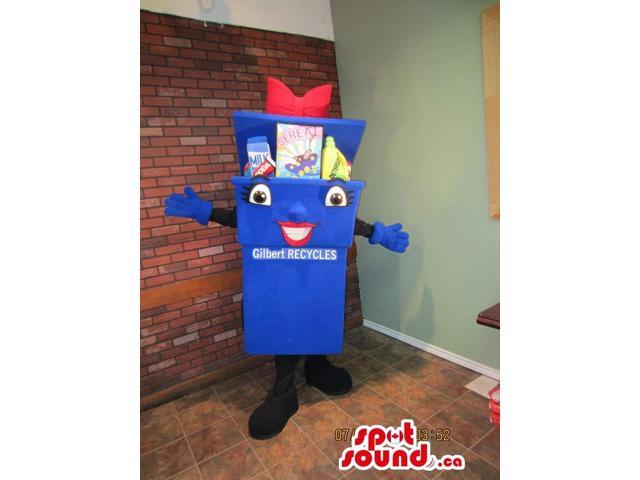 Blue Recycling Box Canadian SpotSound Mascot With Peculiar Face And Space For Message