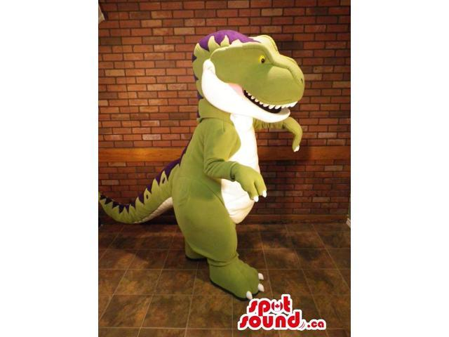 Customised Green, White And Purple Dinosaur Canadian SpotSound Mascot