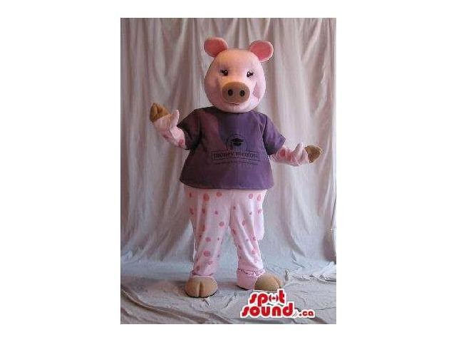 Customised Cute Pig Plush Canadian SpotSound Mascot Dressed In Pyjamas