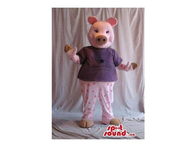 Customised Cute Pig Plush Canadian SpotSound Mascot Dressed In Pyjamas