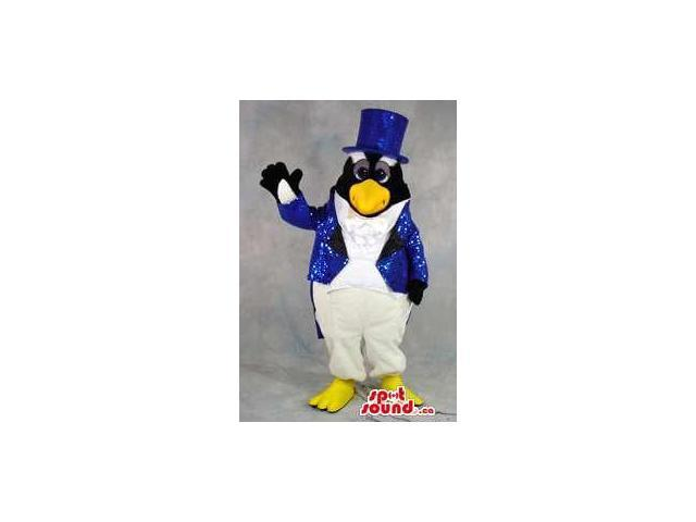 Peculiar Penguin Plush Canadian SpotSound Mascot In Blue Glitter Magician Clothes