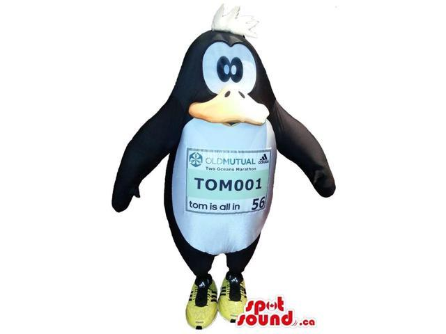 Peculiar Cartoon Penguin Plush Canadian SpotSound Mascot With A Label On Its Belly