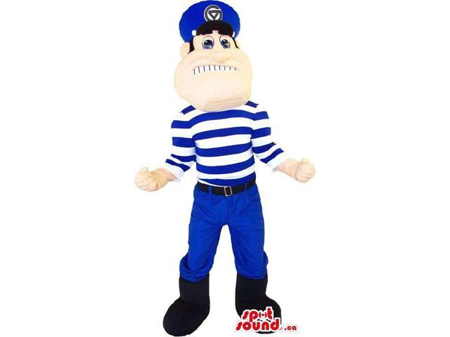 Human Canadian SpotSound Mascot Dressed In A Striped Blue And White T-Shirt And A Hat