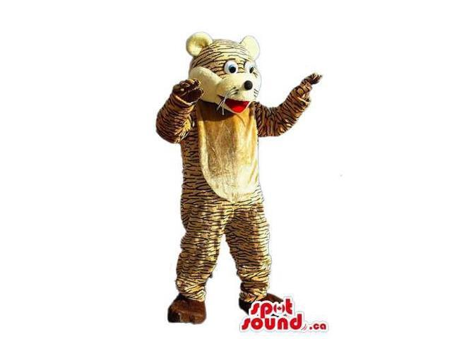 Fairy-Tale Pattern Tiger Animal Plush Canadian SpotSound Mascot With A Beige Belly