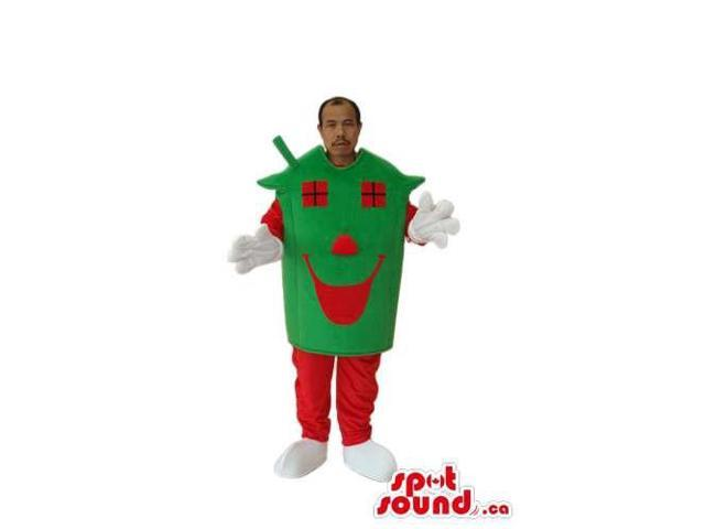 Advertising Green And Red House Costume Or Canadian SpotSound Mascot With A Face