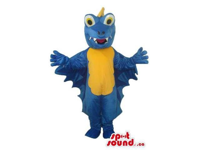 Blue Dragon Plush Canadian SpotSound Mascot With Blue Wings And A Yellow Belly