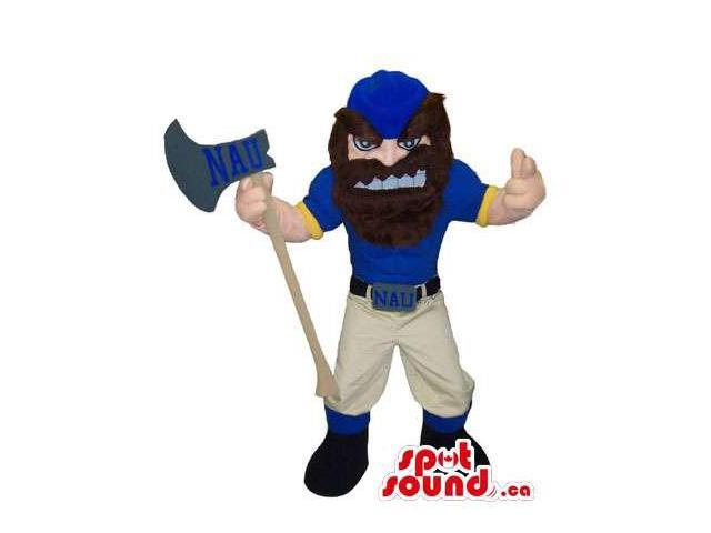 Human Canadian SpotSound Mascot With A Beard, An Axe And A An Angry Face