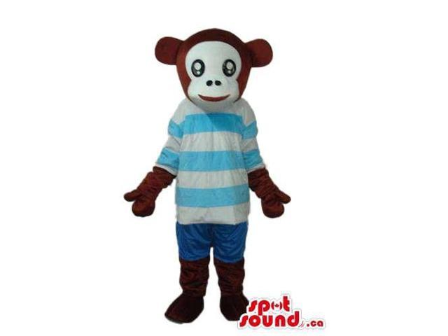 Brown Monkey Animal Plush Canadian SpotSound Mascot With A Blue Stripes T-Shirt