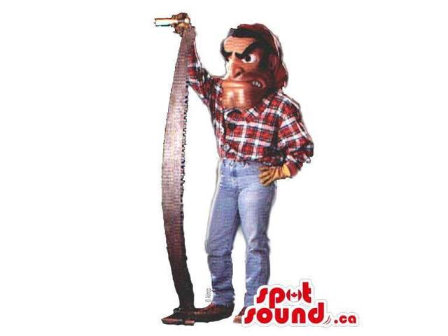 Human Canadian SpotSound Mascot With A Saw And A An Angry Face Dressed In Jeans