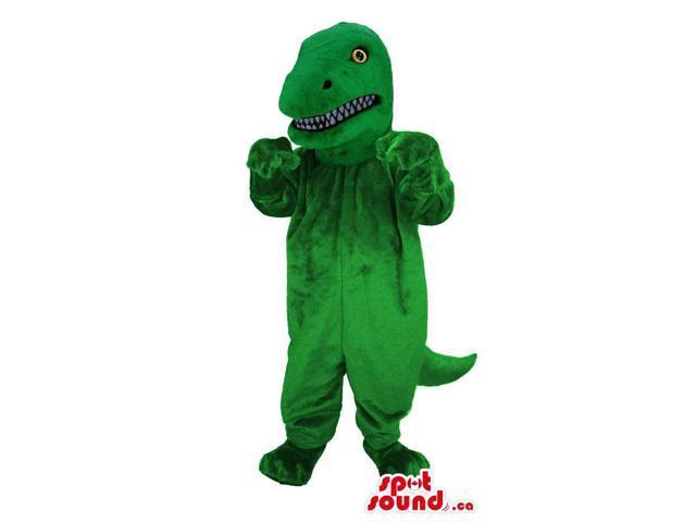 Green Dinosaur Canadian SpotSound Mascot With Sharp Teeth And Yellow Eyes