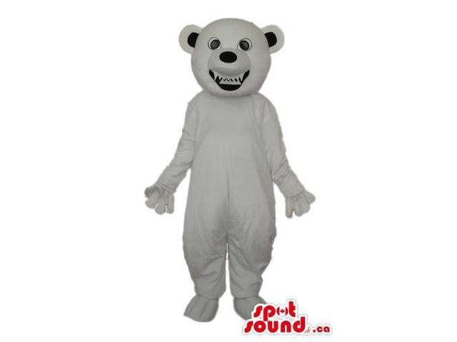 Cute White Bear Forest Plush Canadian SpotSound Mascot Showing Its Teeth