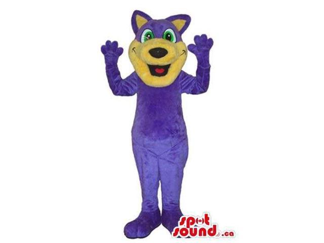 Flashy Purple Fairy-Tale Dragon Plush Canadian SpotSound Mascot With A Peculiar Face