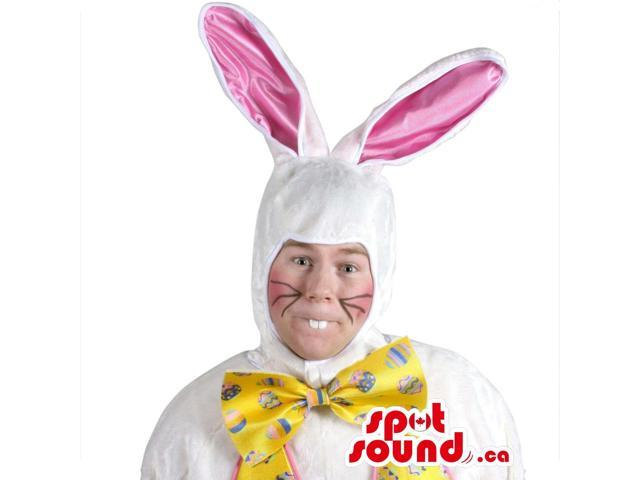White Rabbit With A Yellow Bow Adult Size Plush Costume